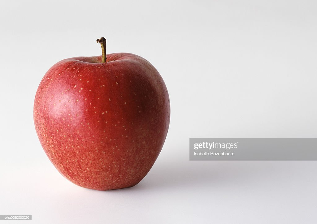 Red apple with stem, in upright position, white background : Stockfoto