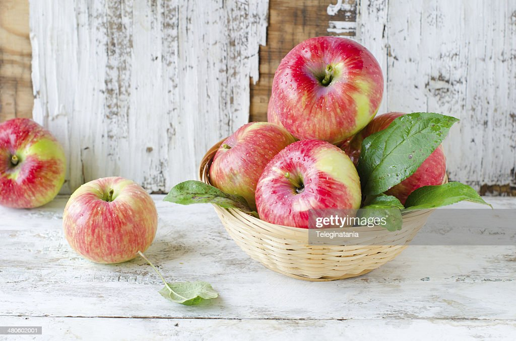 Red apples in a basket : Stock Photo