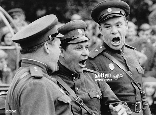 A Red Army ensemble entertain the Soviet troops in a park in Prague during the Prague Spring of 1968