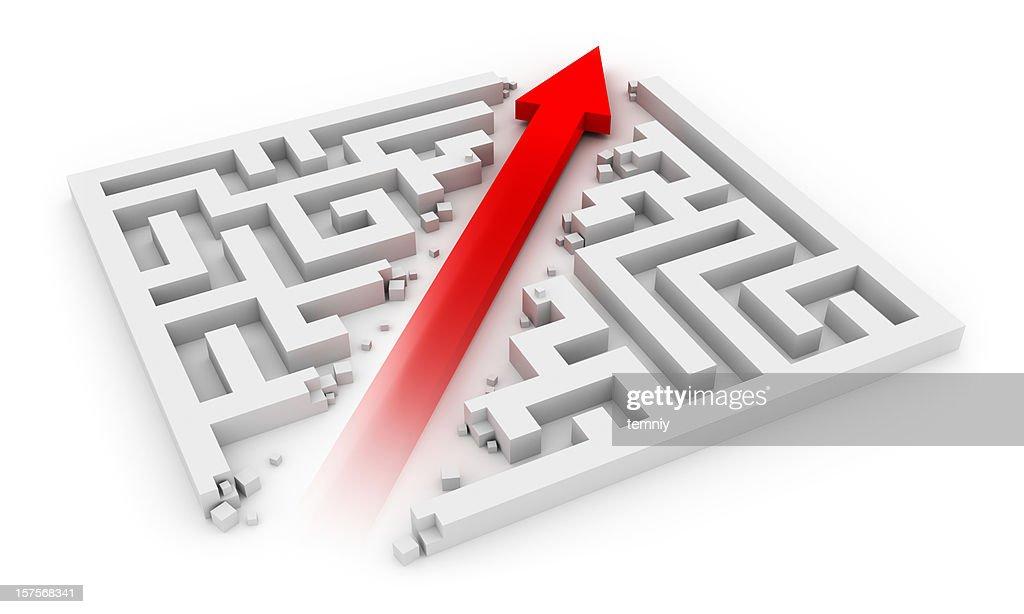 Red arrow cutting sideways through a white labyrinth : Stock Photo