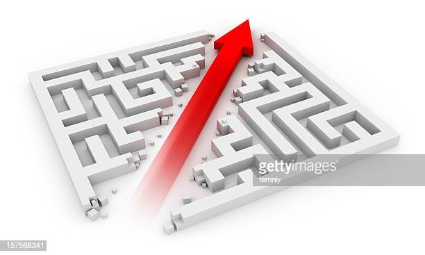Red arrow cutting sideways through a white labyrinth