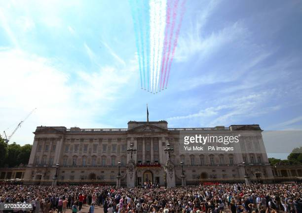 RAF Red Arrows during a flypast over Buckingham Palace in central London following the Trooping the Colour ceremony at Horse Guards Parade as the...