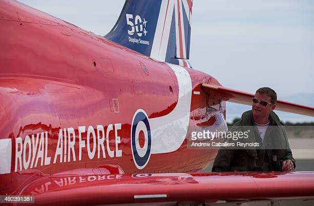 Red Arrow's Team leader Jim Turner inspects his plane before a practice session at RAF Akrotiri on May 19 2014 in Limassol Cyprus The Red Arrows are...