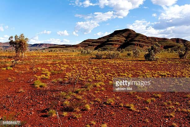 Red Australian outback landscape Hamersley Range Pilbara Western Australia