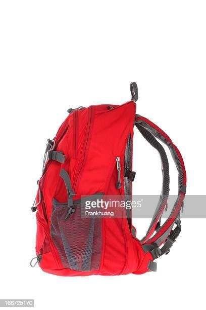 白色の背景に赤のバックパック