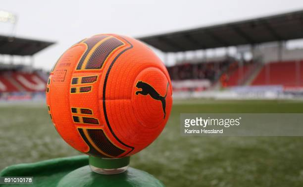 Red ball as matchball of Halle during the 3Liga match between FSv Zwickau and Hallescher FC at Stadion Zwickau on Decmber 10 2017 in Zwickau Germany