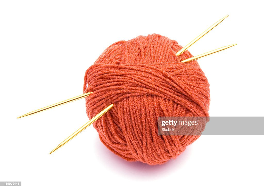 Red ball of wool and knitting needles : ストックフォト