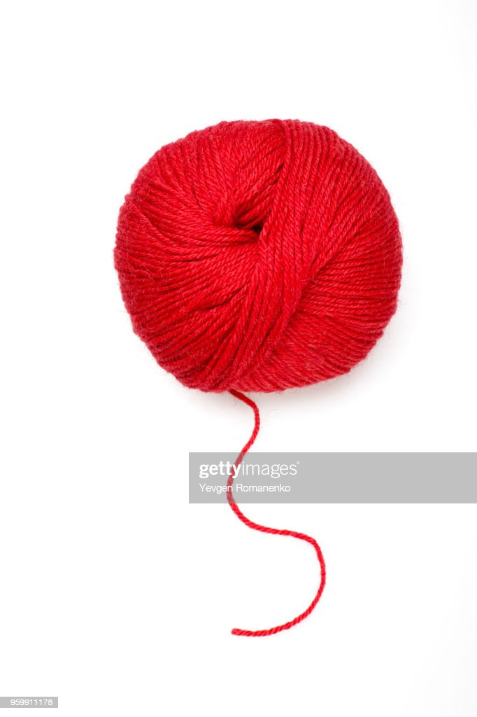 Red ball of wool on white background : Stock-Foto
