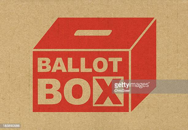Red ballot box icon printed of brown paper