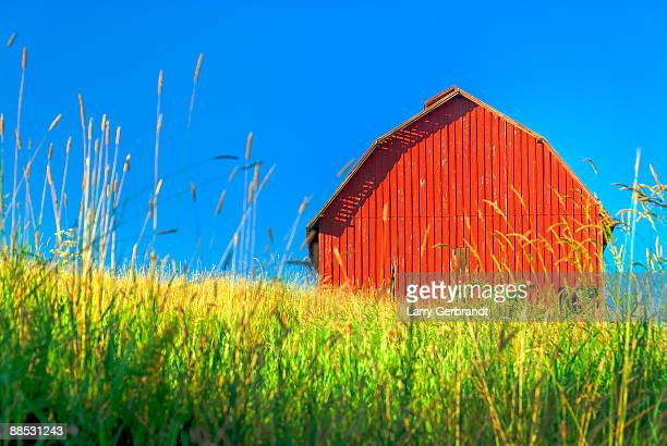 Red Barn Against Blue Sky