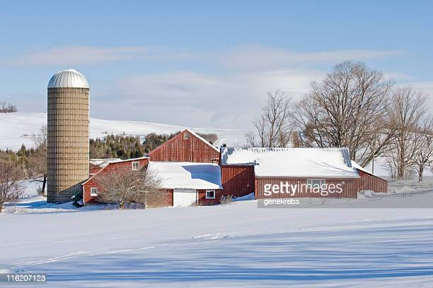 Red Barn and Silo on a Winter Morning