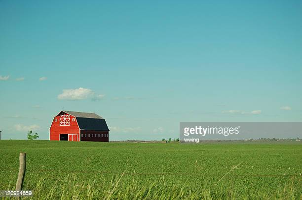 Red Barn and Vivid Sky in Summer
