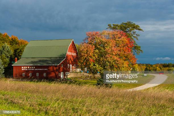 granero rojo tienda de antigüedades en otoño en traverse city, michigan - traverse city fotografías e imágenes de stock