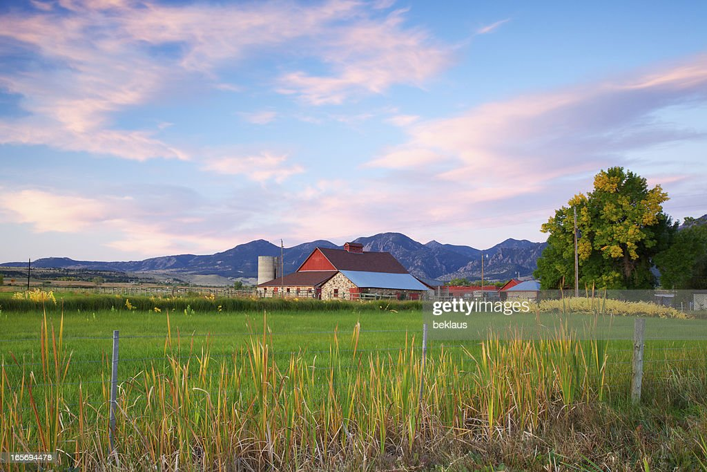 Red Barn at Sunrise : Stock Photo
