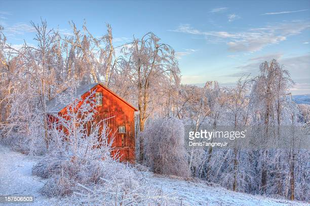 Red Barn covered in thick glaze of Ice