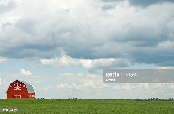 Red Barn, Heavy Clouds, and Copy Space