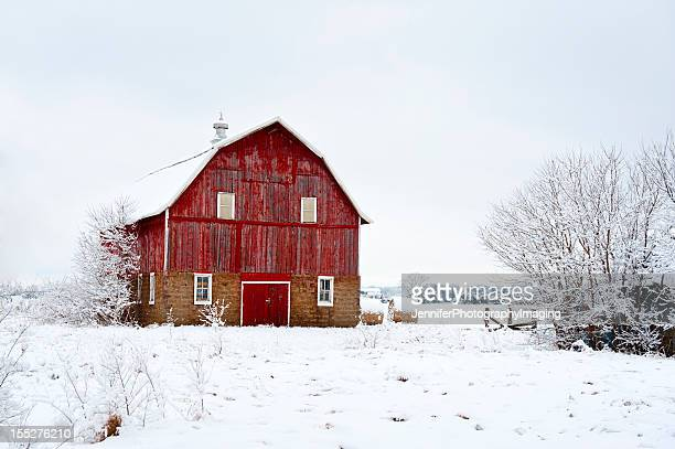 red barn in winter - iowa stock pictures, royalty-free photos & images
