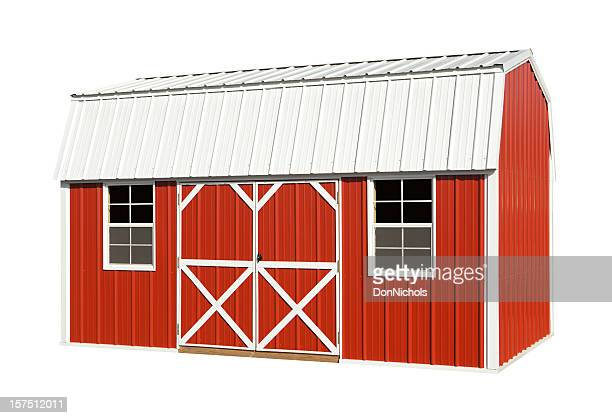 red barn isolated - shed stock pictures, royalty-free photos & images
