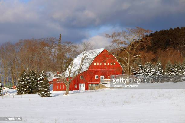 red barn near lake ann in winter - rainer grosskopf fotografías e imágenes de stock