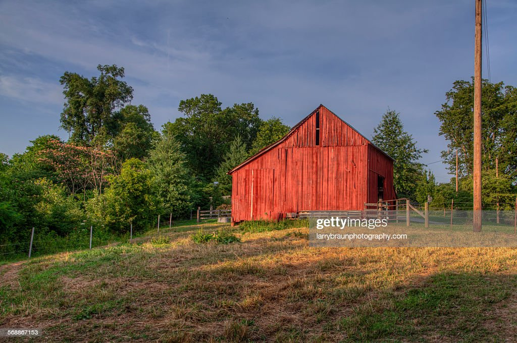 Red Barn on a Hill : Stock Photo