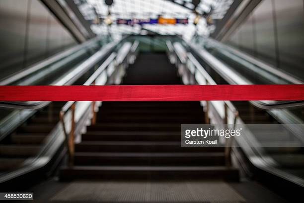 A red barrier tape advices for closing the platform during the strike at SBahn at Hauptbahnhof main railway station during a fourday strike by the...
