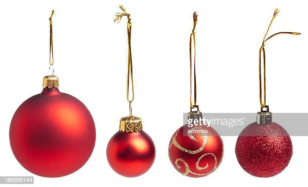 red baubles - christmas ornaments stock photos and pictures