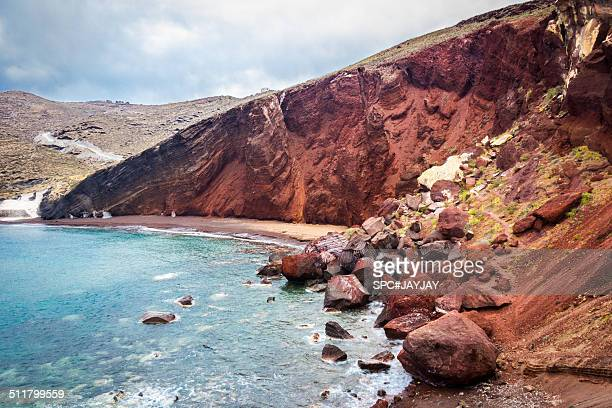 red beach in santorini - akrotiri stock pictures, royalty-free photos & images
