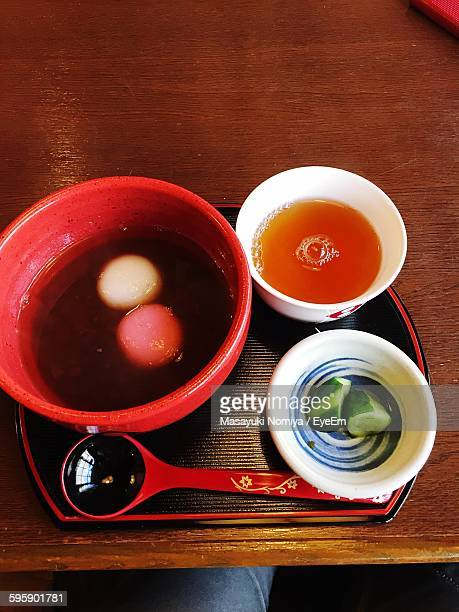Red Bean Soup Served In Bowl On Table
