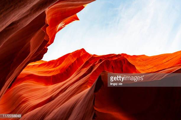 red beautiful rock in antelope canyon, arizona, usa - ロウワーアンテロープ ストックフォトと画像
