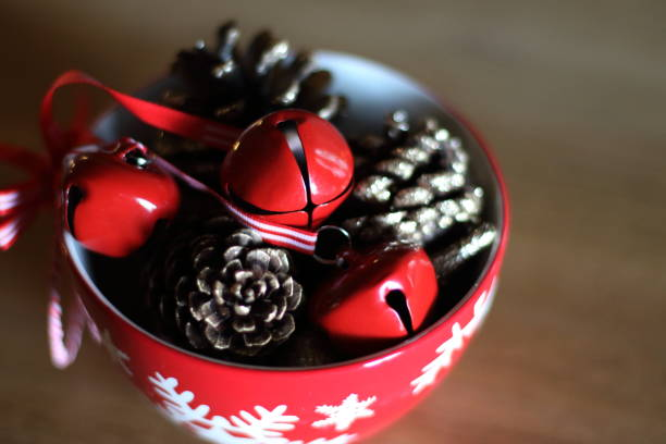 Red bell and pine cone for christmas