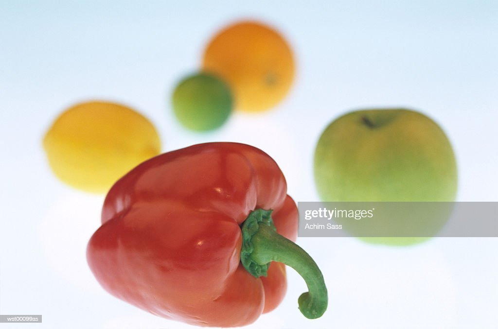 red bell pepper, apple, lemon, orange : Stock Photo