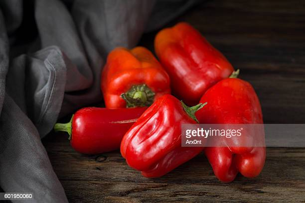 red bell peppers - bell pepper stock pictures, royalty-free photos & images