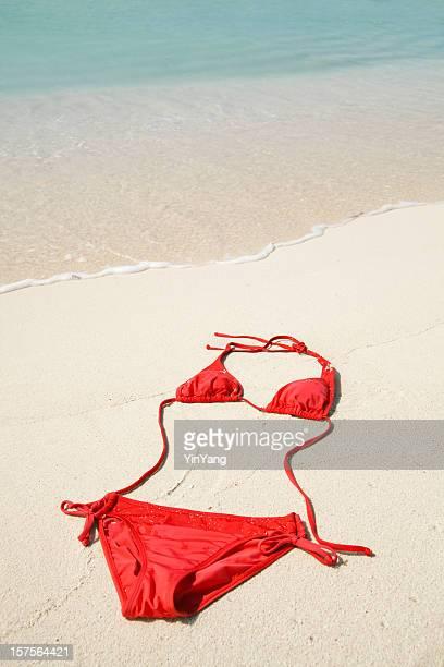 Red Bikini Swimwear on Summer Beach Sand of Tropical Caribbean
