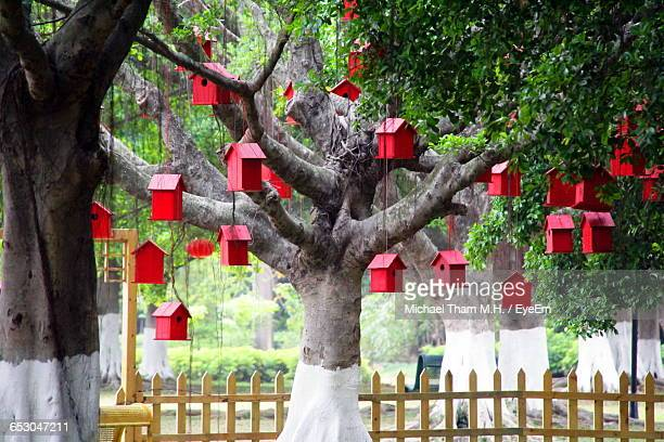 Red Birdhouses Hanging On Tree