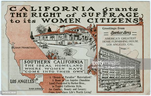 Red black and white postcard published by the Barker Brothers Home Furnishing Company celebrating Californian Women gaining full voting rights in...