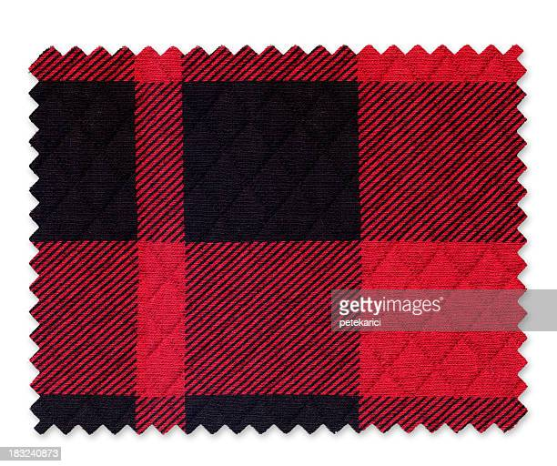 Red Black Plaid Fabric Swatch
