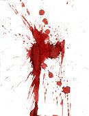 Red blood splatter stain on white background