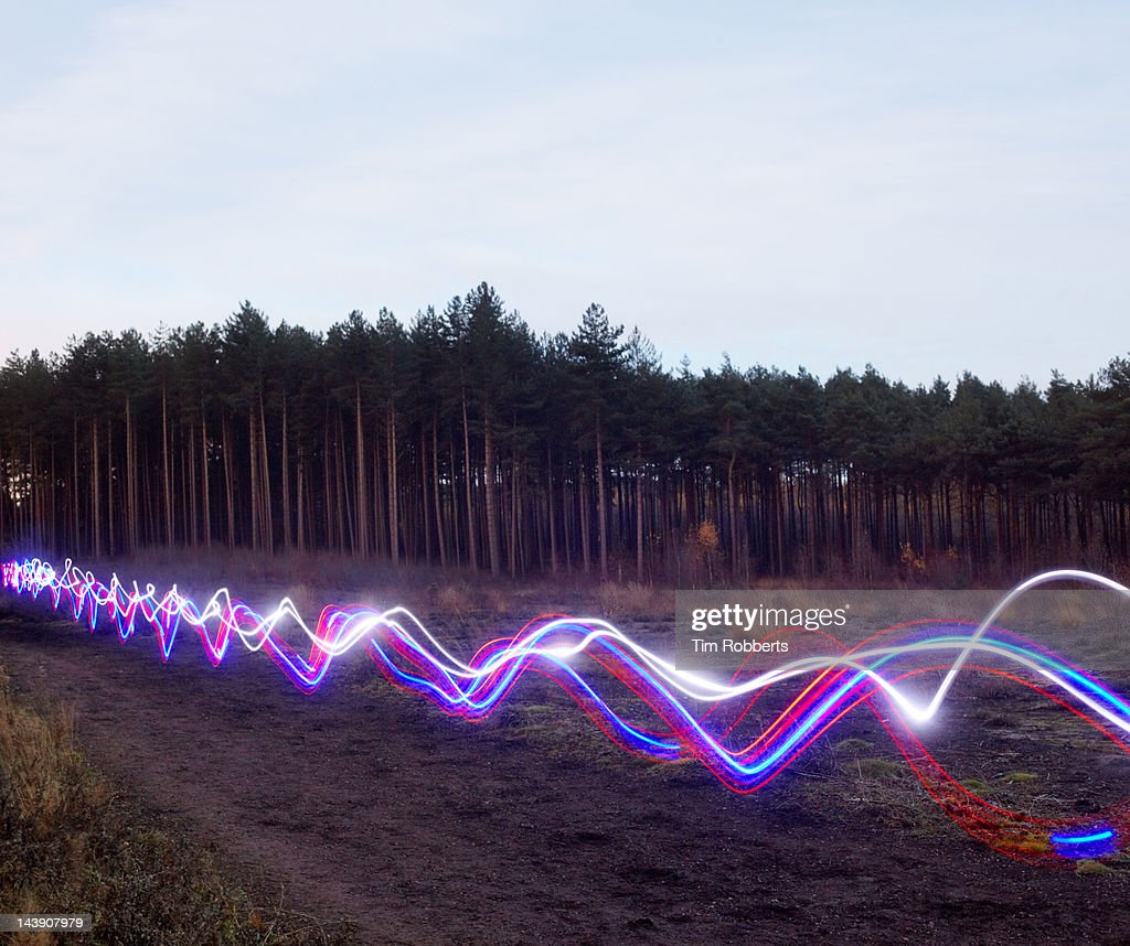 Red, blue and white light trails on heath. : Stock Photo