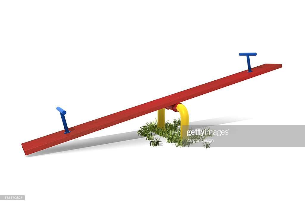 Red, blue and yellow seesaw isolated on white background : Stock Photo
