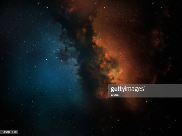 red & blue space nebula - nebula stock pictures, royalty-free photos & images