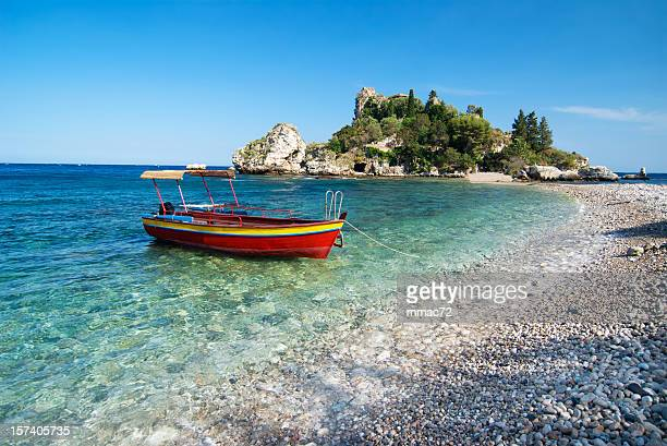 Red boat, Isola Bella, Sicily