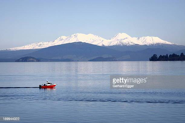 Red boat on Lake Taupo