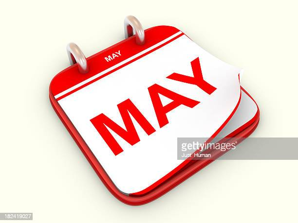 Red bordered desk top calendar showing month of May