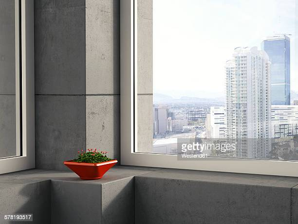 Red bowl of clover standing on window sill in a modern high-rise building, 3D Rendering