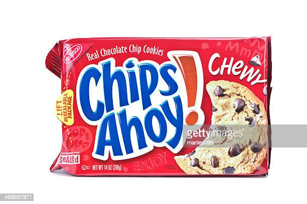 red box of chips ahoy on an isolated background. - chips ahoy stock photos and pictures