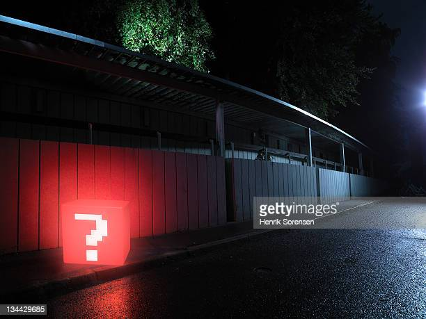 red box with question mark in the street