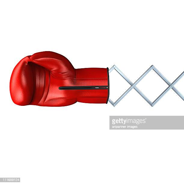 red (automatic) boxing glove on white - boxing gloves stock pictures, royalty-free photos & images