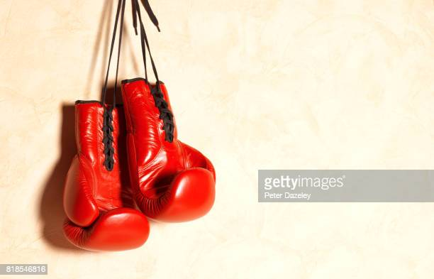Red boxing gloves with copy space