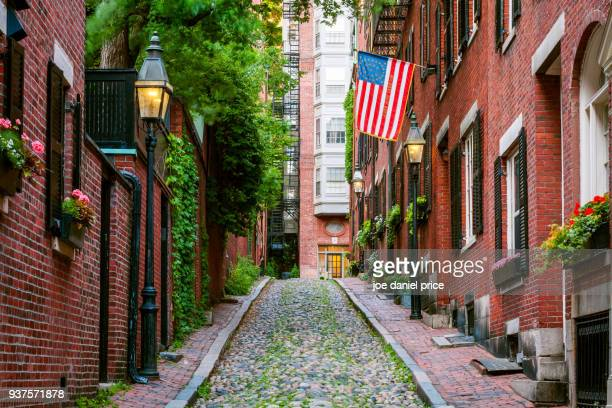 red brick, acorn street, boston, massachusetts, america - international landmark stock pictures, royalty-free photos & images