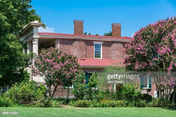 Red brick architecture of the the Hermitage historical plantation and museum in Nashville Tennessee
